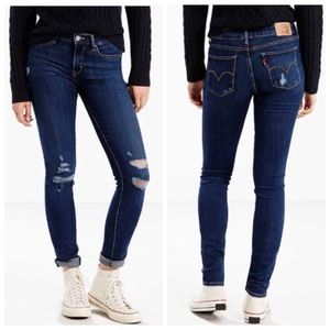 New Levi's 711 Distressed Skinny Jeans Size 25